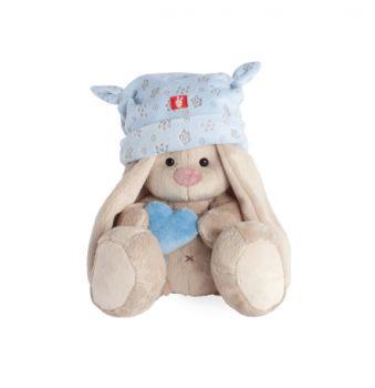 Зайка Ми в голубой шапке с сердечком (малыш) 15см. 74