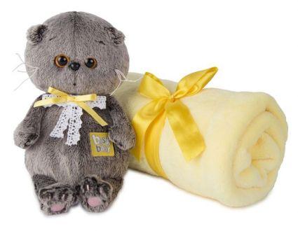 Басик BABY в комплекте с детским пледом 100*80  игрушка мягкая ВВ-008