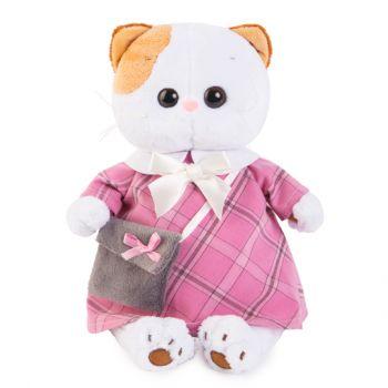 Кошечка Ли-Ли в розовом платье с серой сумочкой 24см